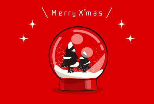 크리스마스 트리 스노우 글로브 (가로)