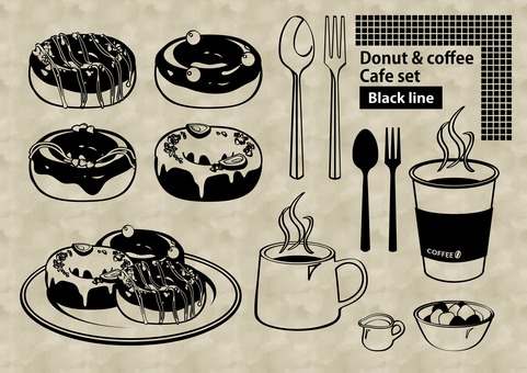 Donut and coffee cafe set drawing