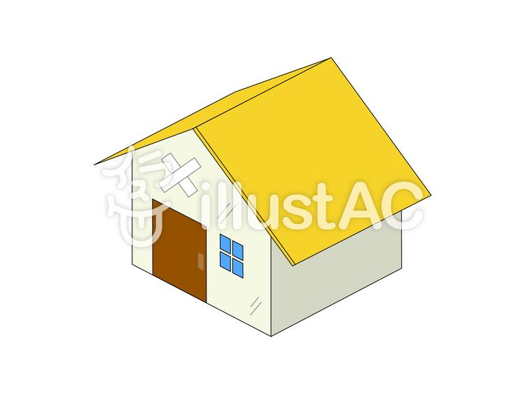 家 一戸建て 中古 老朽化 黄色イラスト , No 1363035/無料