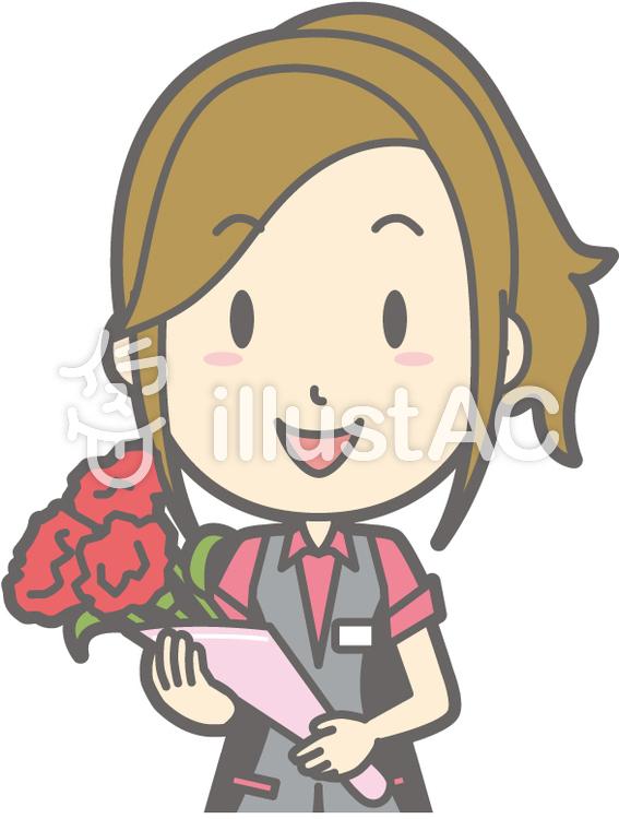 パチ女子店員-花束-バストのイラスト