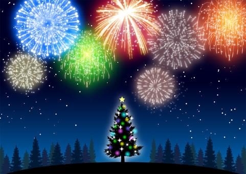 クリスマスツリーと花火背景