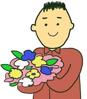 5 men with a bouquet