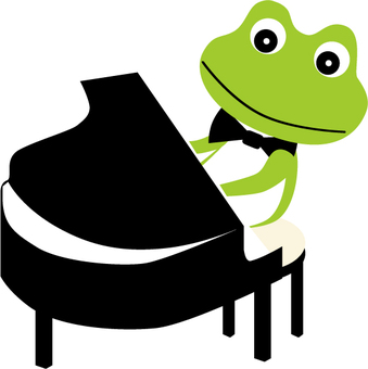 Frog playing the piano