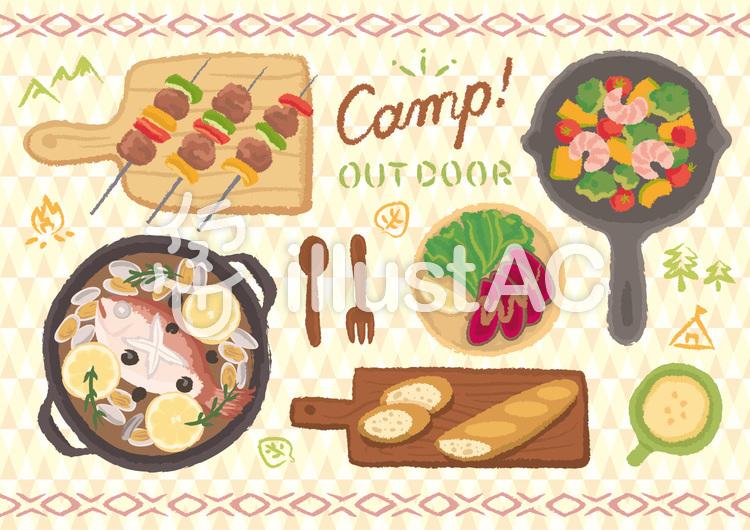 手描き風 キャンプ飯セットのイラスト