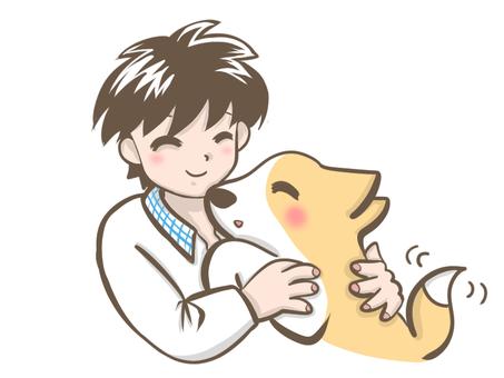 親密的狗和男孩