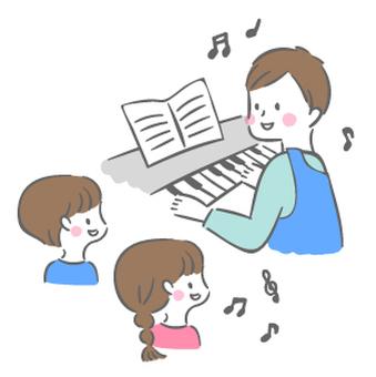 男老師和孩子們彈鋼琴