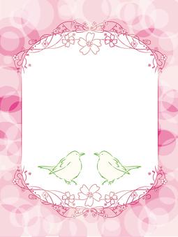 새와 벚꽃