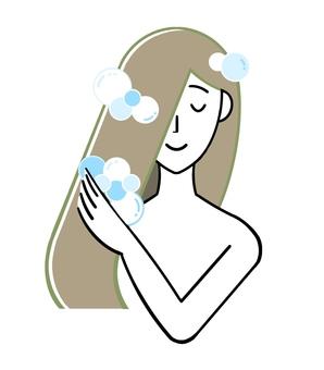 Woman to shampoo