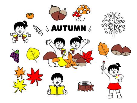 Kids and autumn illustration set (simple)