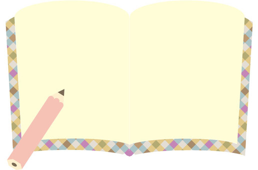 귀여운 노트와 연필 핑크