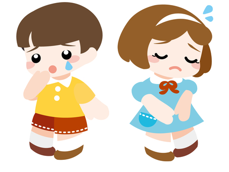 Sad little little boy and girl