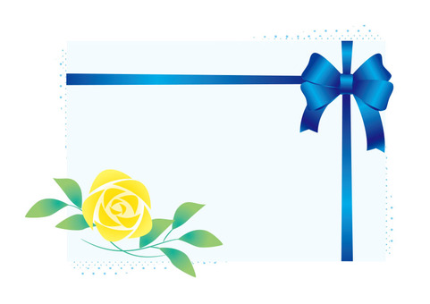 Blue ribbon and yellow rose