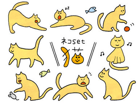 Cat handwritten calico set 02