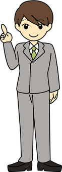 Male gray suit pointing to your fingers whole body