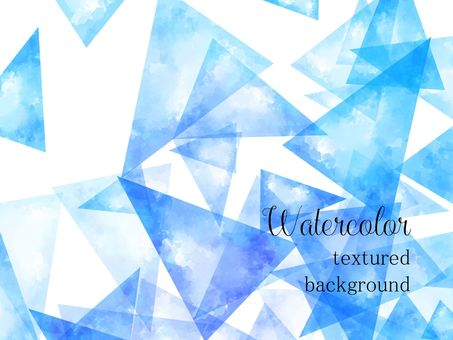 Triangle pattern watercolor background material / blue b