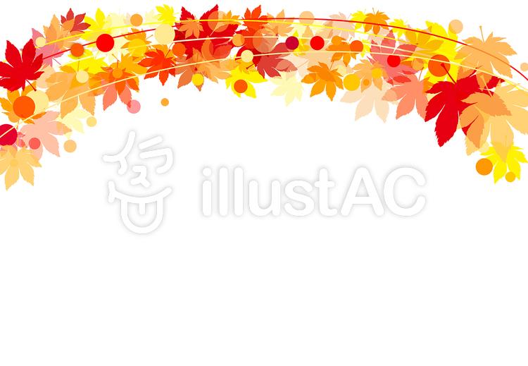 秋のもみじフレームのイラスト