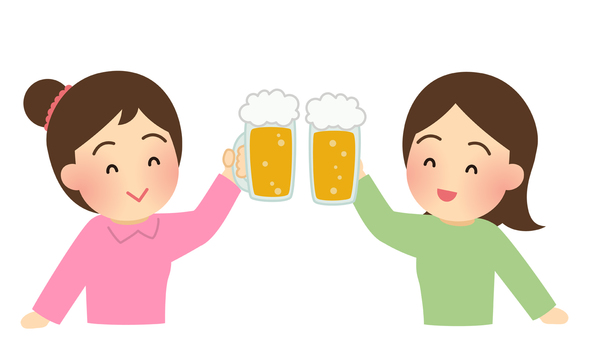 Illustrations of women toasting