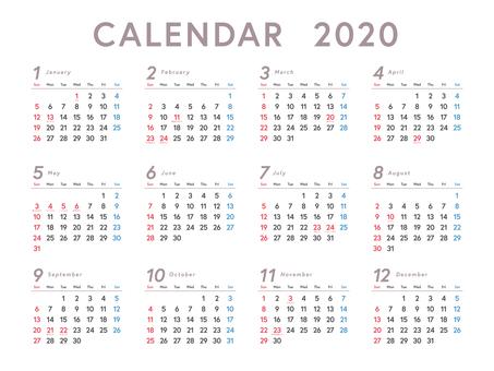1 year calendar 2020