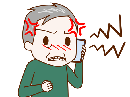 Old man 2 talking while being frustrated with a smartphone