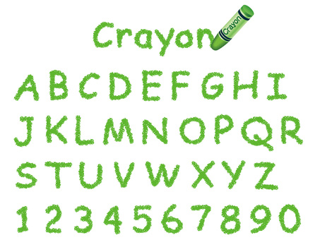 Crayon handwritten font Uppercase letters and numbers Green