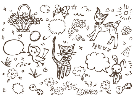 Handwritten girly illustration material collection cute decoration