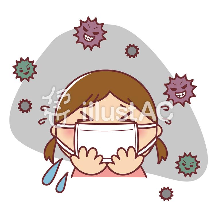 インフルエンザ 風邪 マスク 女の子のイラスト