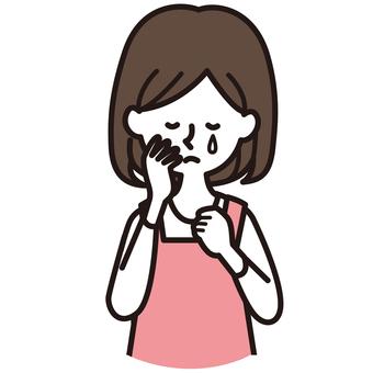 울 앞치마 여성