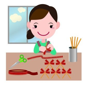 Ribbon decoration making