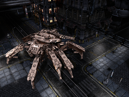 Of a spider tank that patrols the city