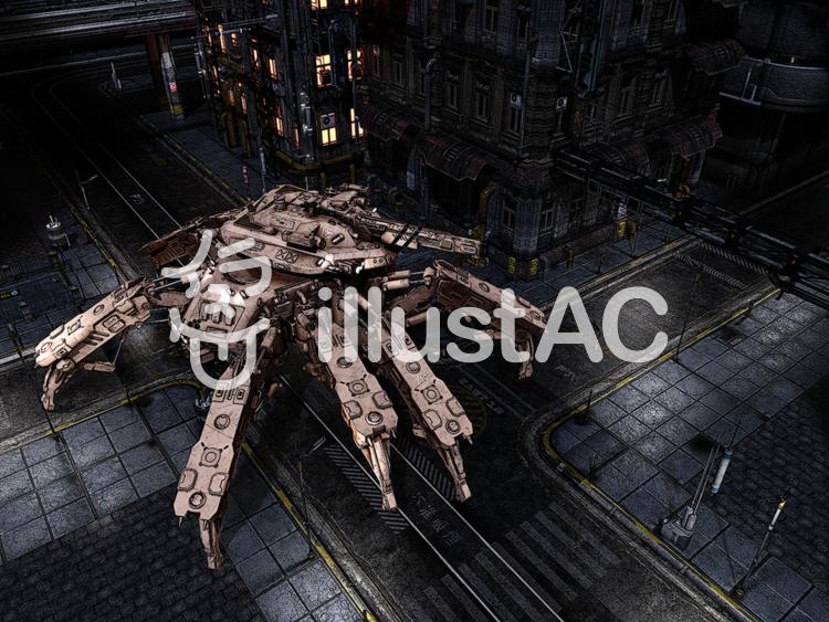 都市をパトロールする蜘蛛型戦車ののイラスト