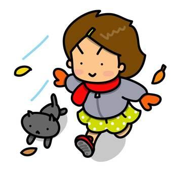 Girls and cats running cheerfully