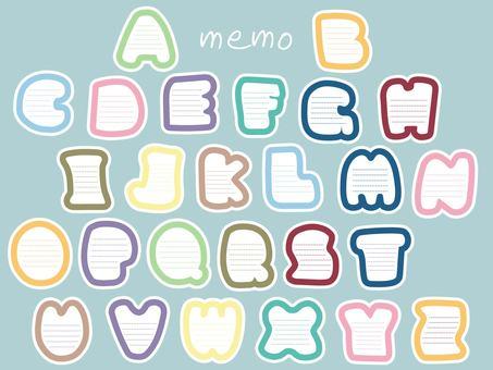 字母表剪影类型备忘录卡