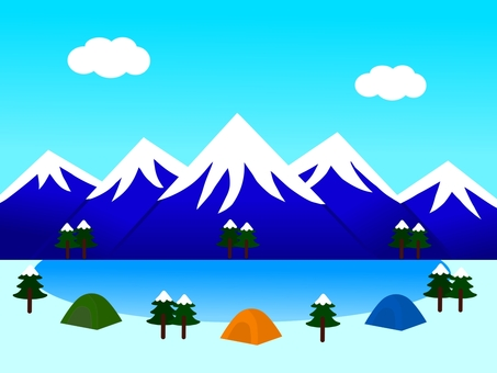 Snowy mountain and lake and tent landscape