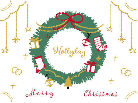 Simple hand-drawn christmas wreath