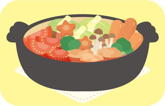 Pot tomato saucepan separately