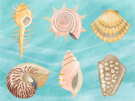 Shellfish set watercolor style