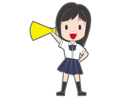 School girls with megaphone whole body