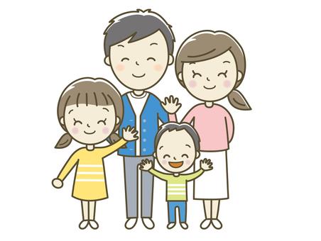 싱글벙글 웃고있는 4 인 가족