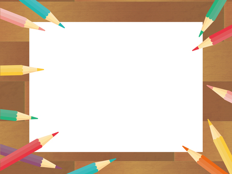 색연필의 흩어진 프레임 배경 책상