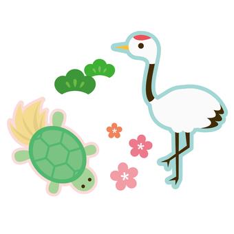 Crane and turtle