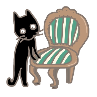 Taisho romance chair and black cat