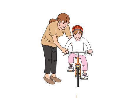 자전거 운동을하는 엄마와 딸 2