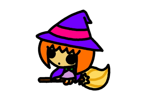 Witch of riding a broom