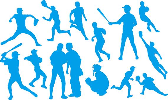 Baseball player _ Silhouette _ Set _ 02 _ Blue