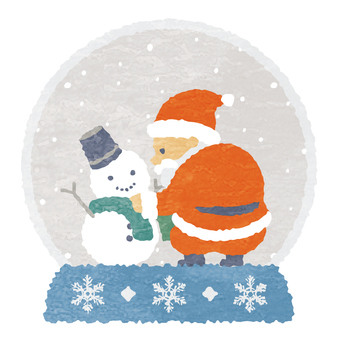 Watercolor style Santa and snowman snow globe