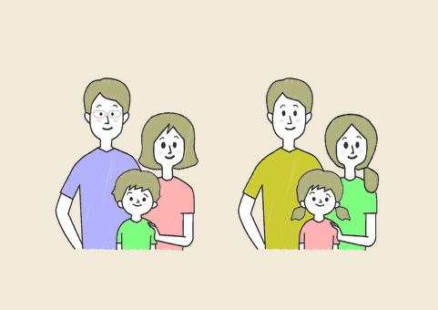親子3人半袖