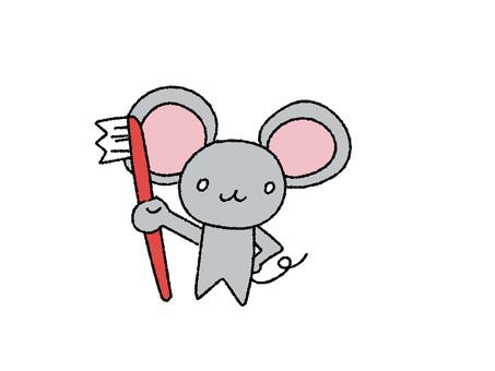 可愛的老鼠用牙刷