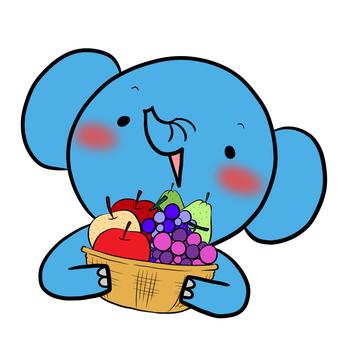 과일 바구니와 코끼리 블루