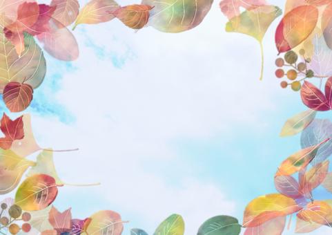 青空と枯葉のフレーム