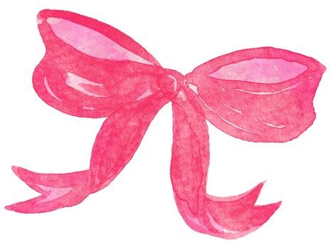 Watercolor ribbon ① pink